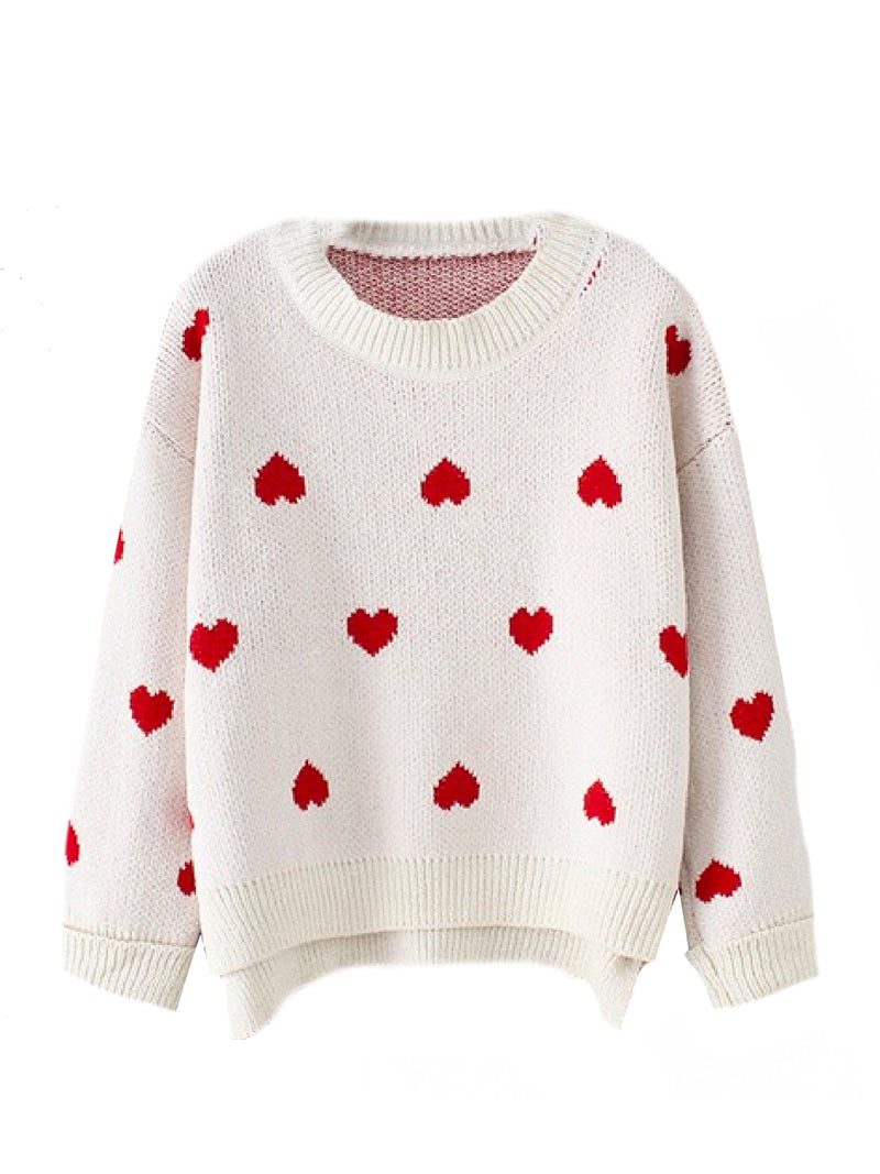 'Trudy' Heart Pattern Sweater (2 Colors)