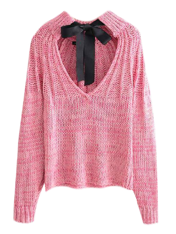 'Ciera' Bow Tied Open Back Sweater