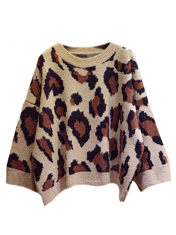 'Rupali' Leopard Print Bat Sleeve Sweater (2 Colors)