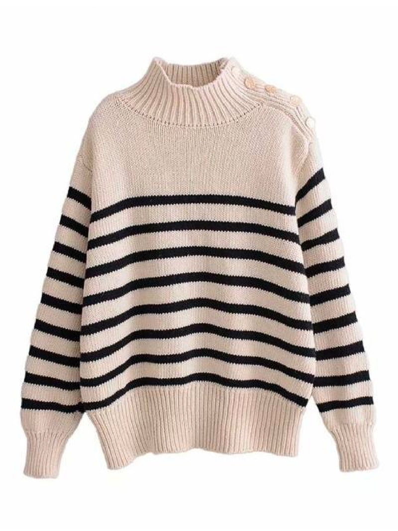 'Kiona' Striped Mock Neck Buttoned Shoulder Sweater