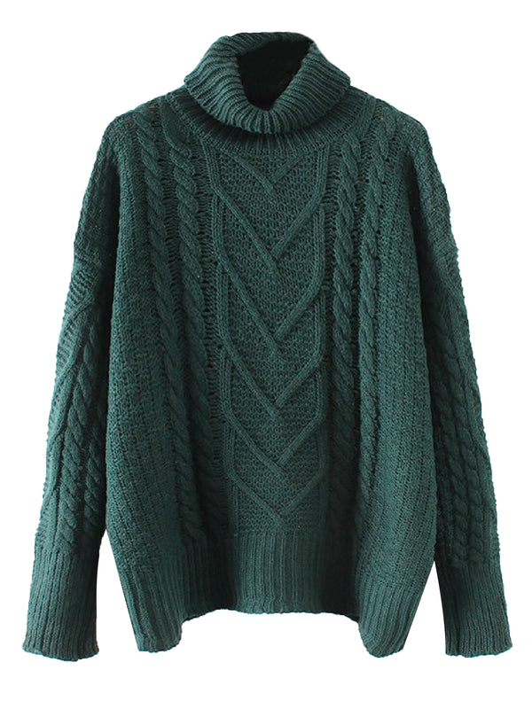 'Samantha' Cable Knit Roll Neck Sweater (3 Colors)