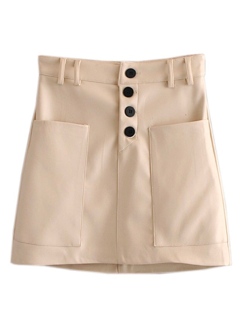 'Jada' Button Front Pocket Mini Skirt