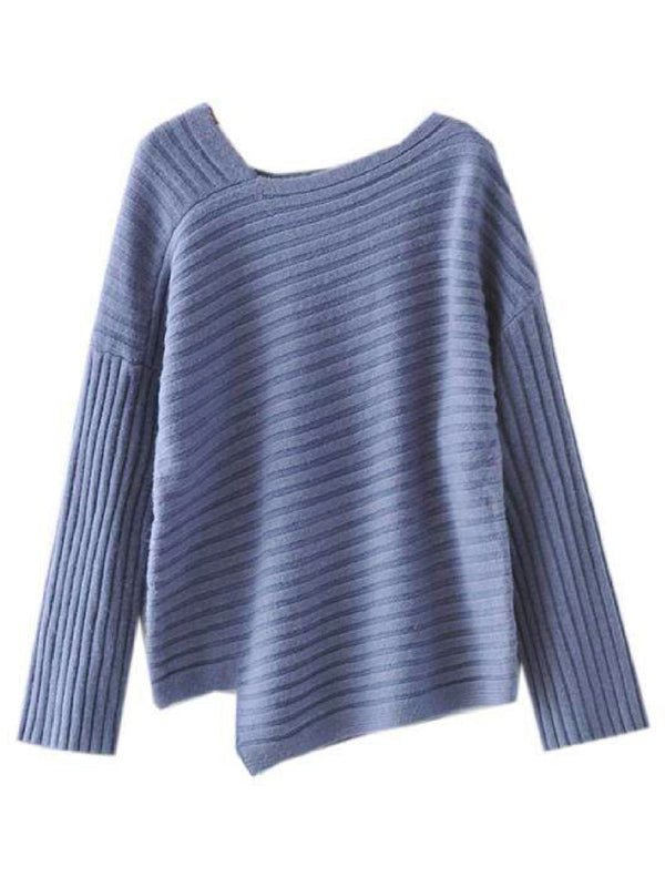 'Dani' Asymmetrical Ribbed Knit Sweater (2 Colors)