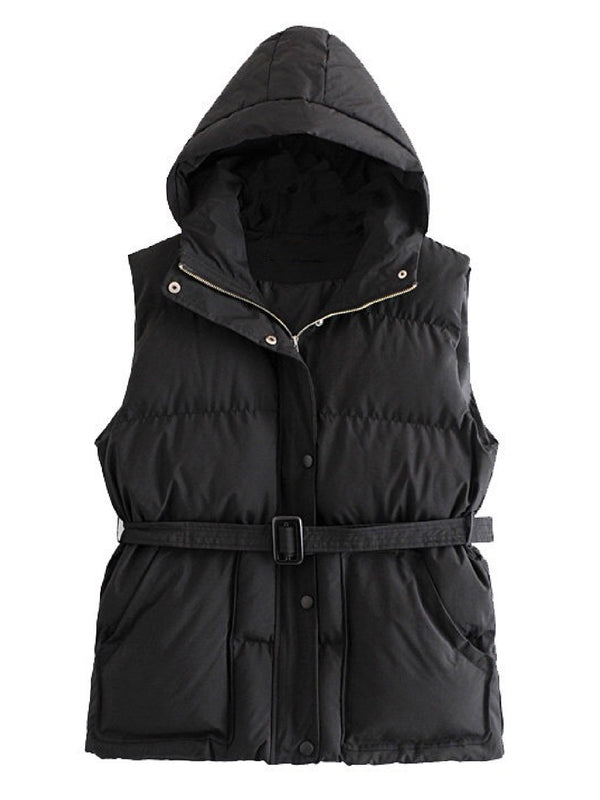 'Vesper' Hooded Belted Puffer Vest (2 Colors)