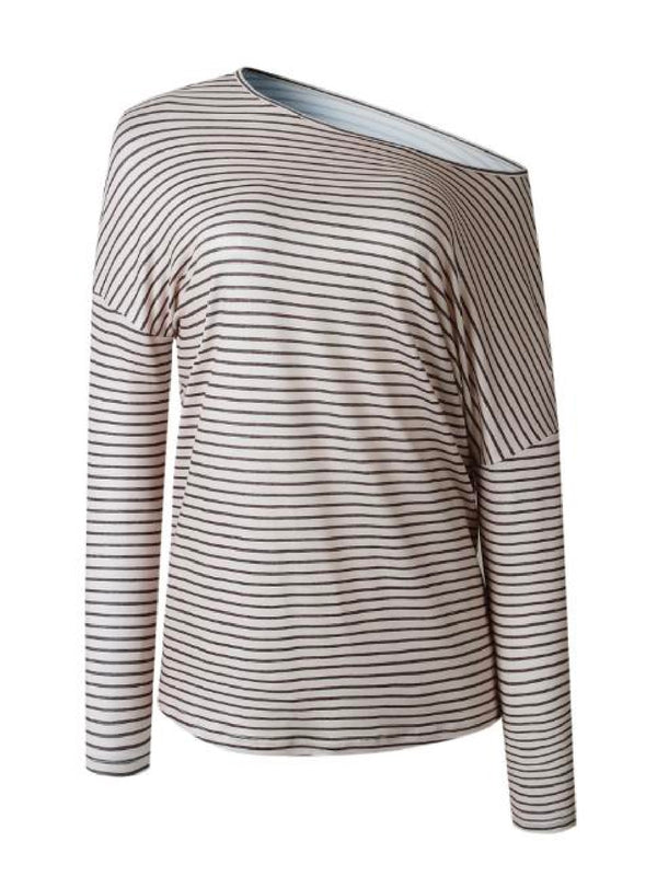 'Portia' Striped Asymmetrical Long Sleeve T-Shirt (3 Colors)