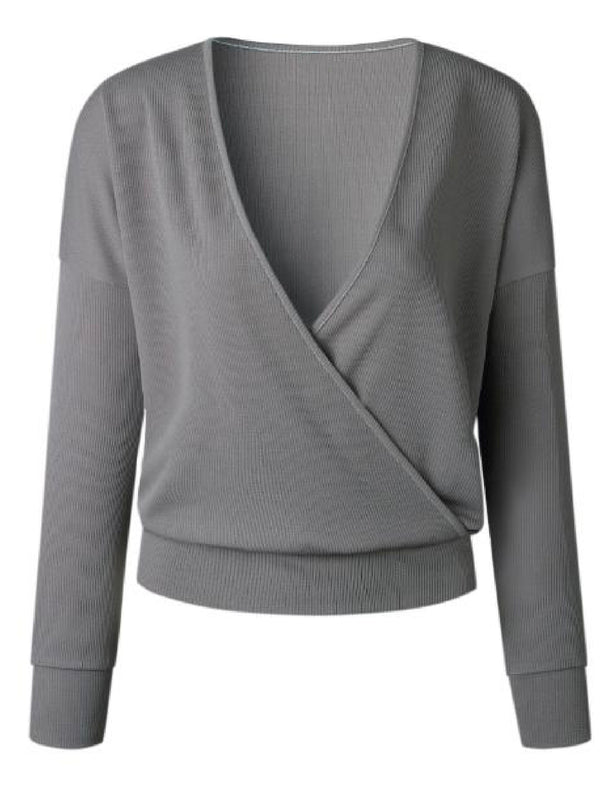 'Cleo' Ribbed Knit Wrap Sweater (4 Colors)