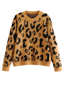 'Ronna' Leopard Print Furry Sweater