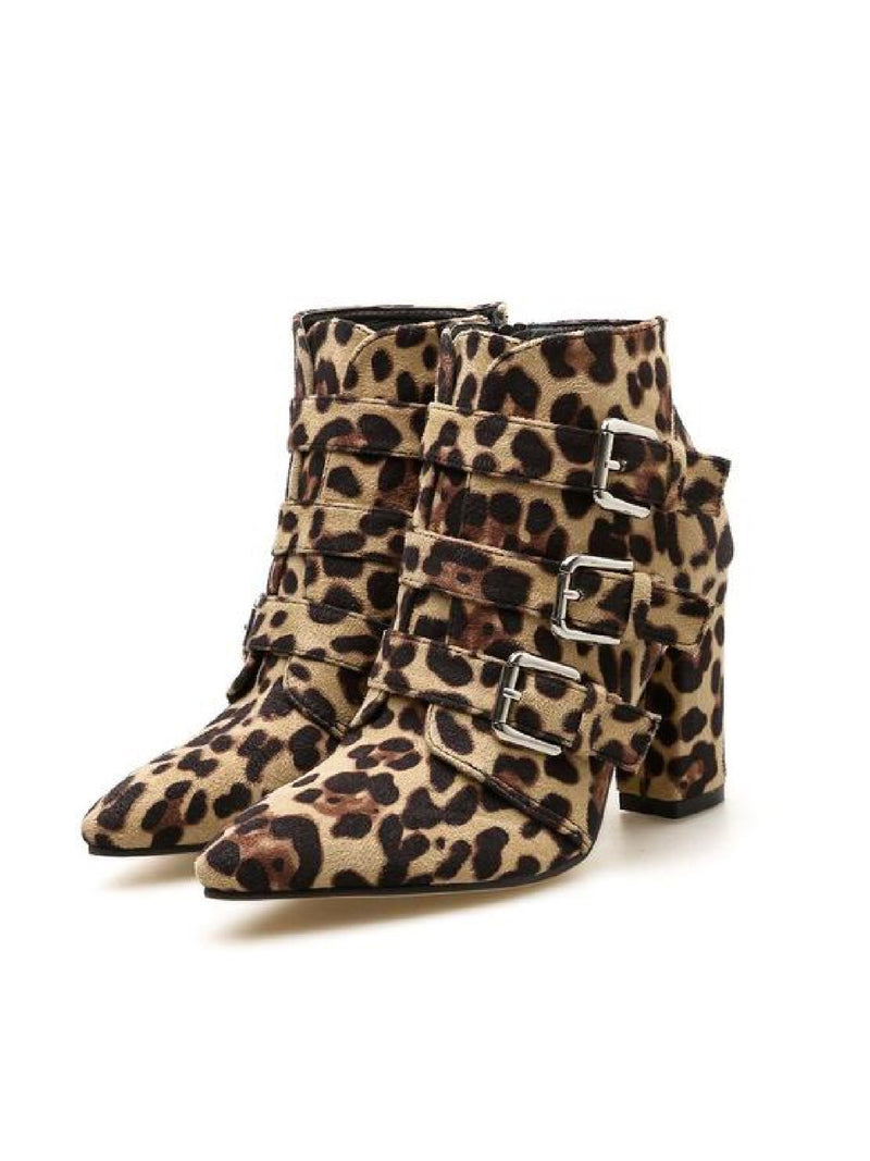 'Lucinda' Leopard Print Buckled Block Heeled Boots