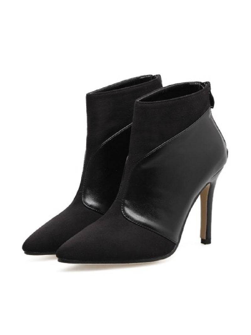 'Laken' Faux Suede Leather Pointed Toe Heeled Boots