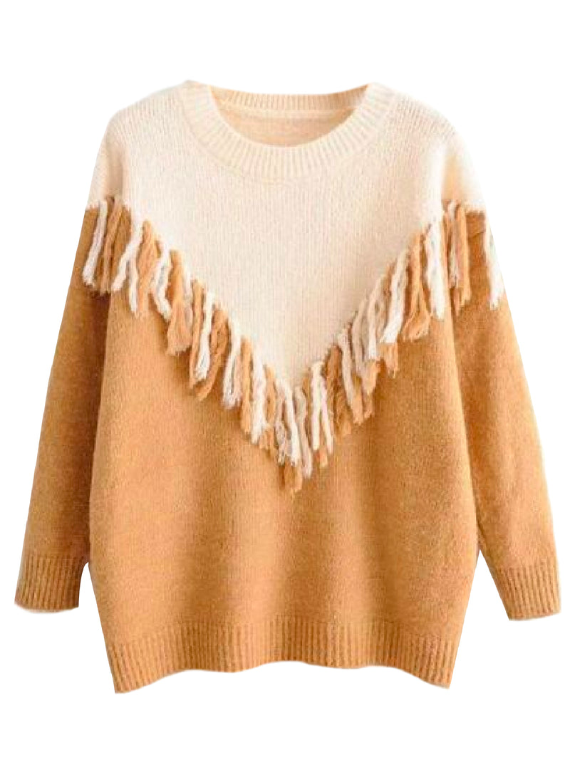 'Jody' Bicolor Fringed Knitted Sweater (3 Colors)