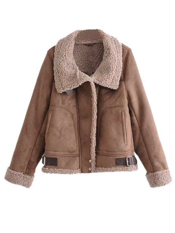 'Terri' Faux Suede Fleece Shearling Jacket