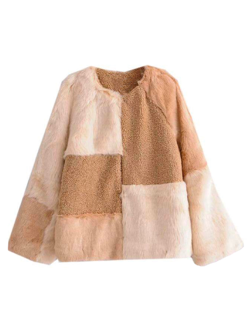 'Irsia' Mixed Material Faux Fur Fleece Jacket