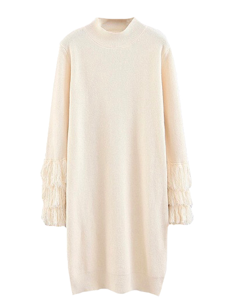 'Laurina' Mock Neck Fringed Sleeves Knitted Dress (4 Colors)