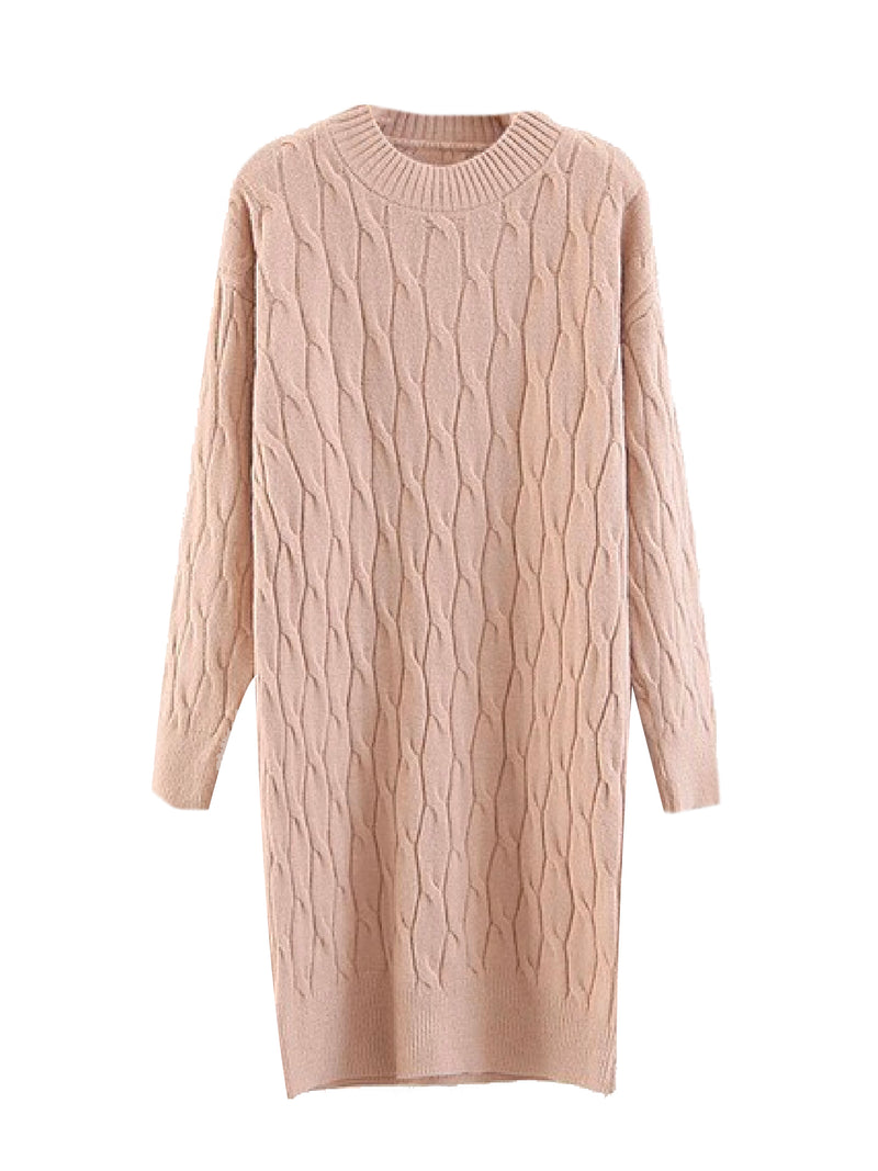 'Neela' Cable Knit Sweater Dress (2 Colors)