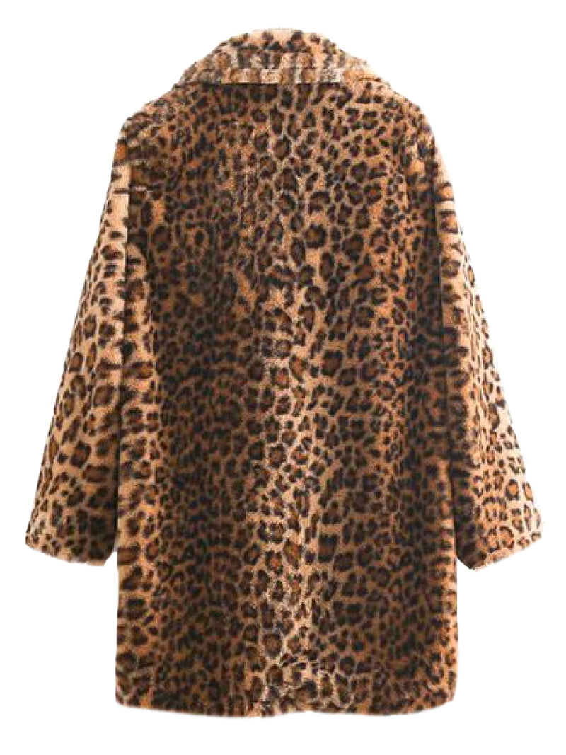 'Fallon' Leopard Print Faux Fur Coat