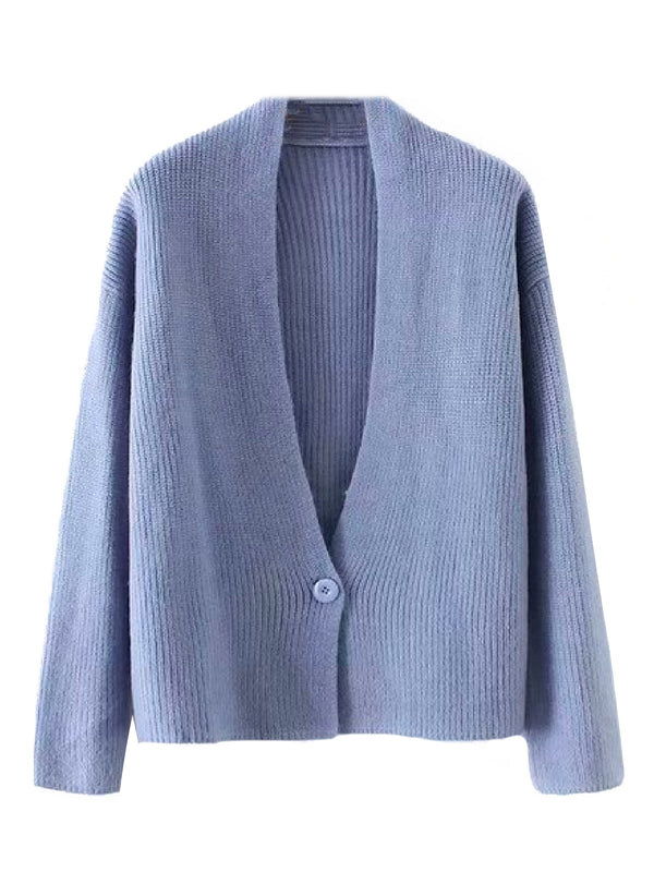 'Dale' Ribbed Knit One Buttoned Cardigan (4 Colors)