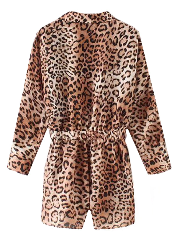 'Pablo' Leopard Print Belted Wrap Shirt