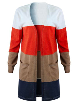 'Gwenna' Color Block Open Front Cardigan