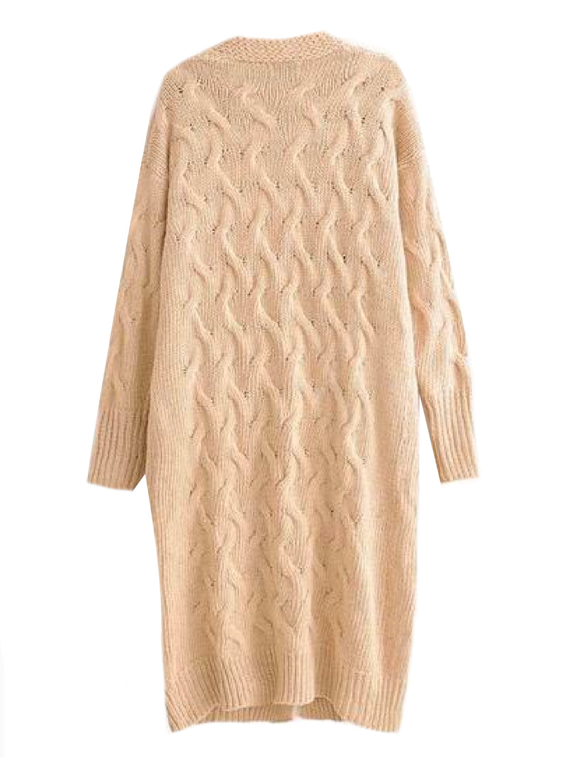 'Shadya' Knitted Long Line Open Cardigan (2 Colors)