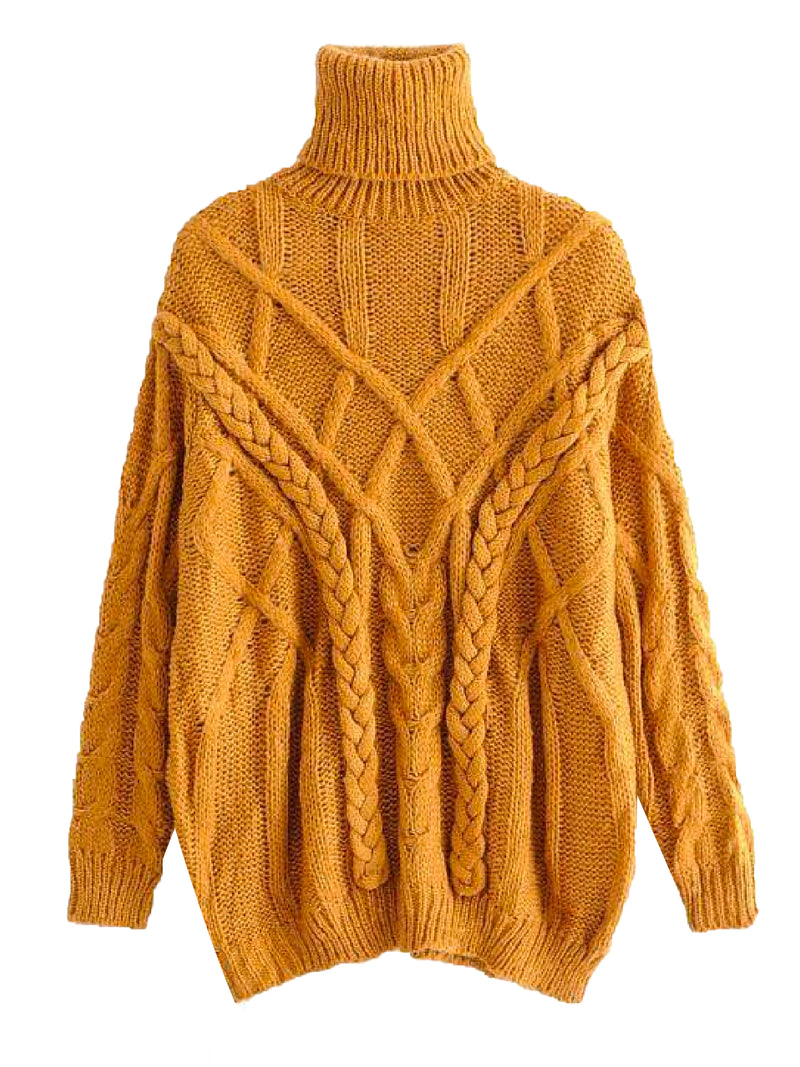 'Keeva' Braided Knit Turtleneck Sweater