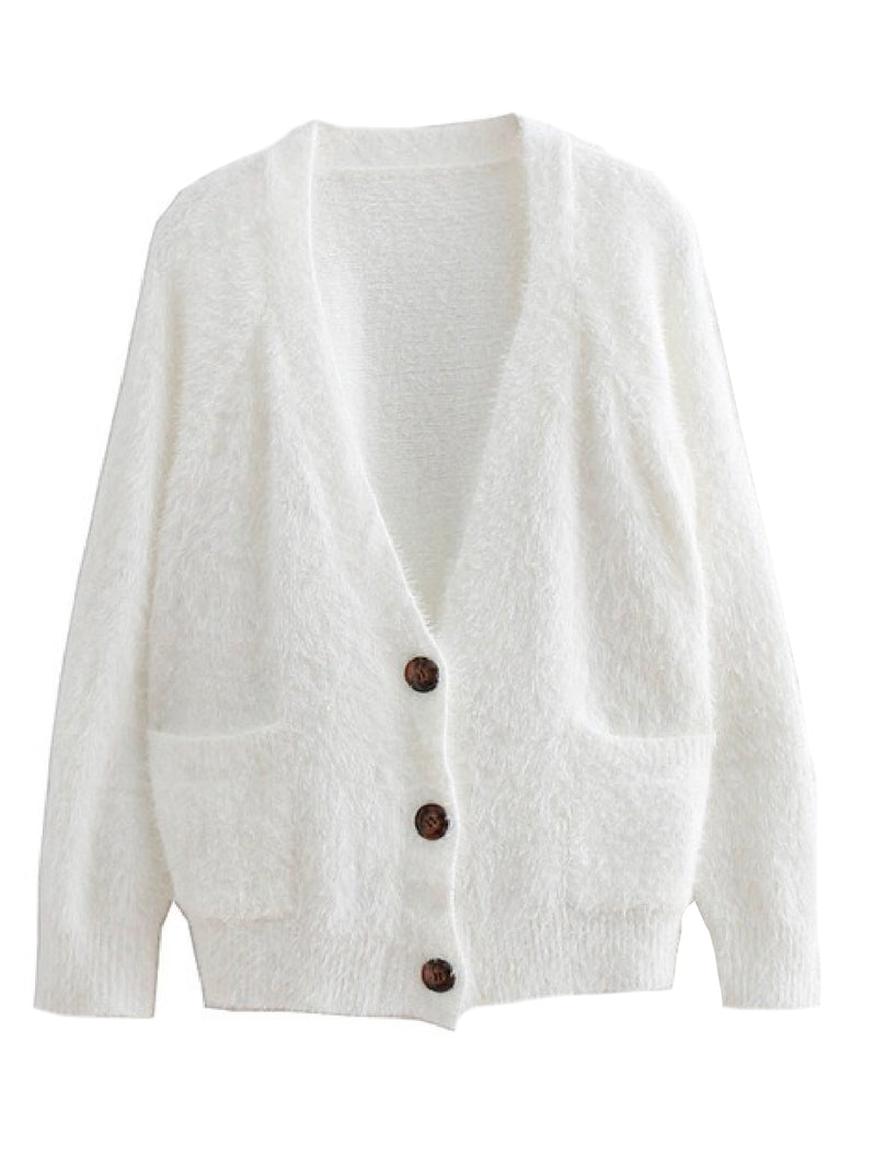 'Kristen' Furry Button Down Cardigan