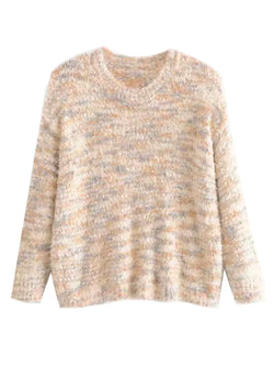 'Contti' Mixed Knit Fluffy Sweater (3 Colors)