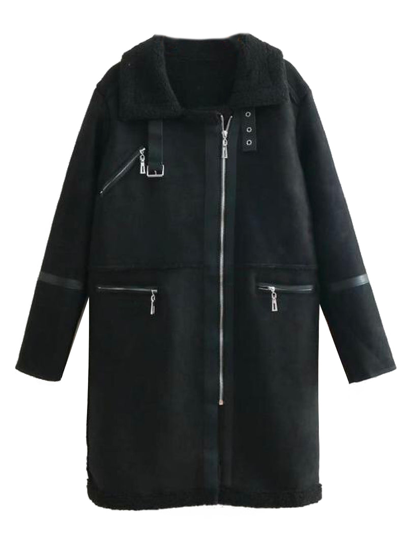 'Lulla' Faux Suede Fleece Shearling Coat (3 Colors)