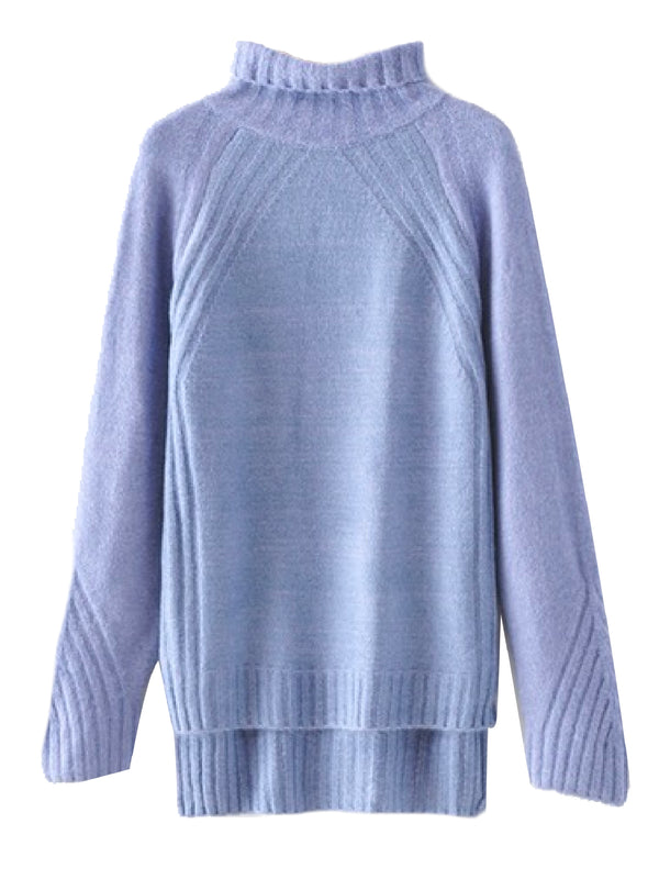 'Letty' Roll Neck Long Knitted Sweater (3 Colors)