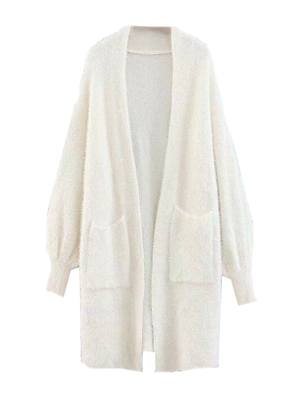 'Bao' Fluffy Long Line Bishop Sleeves Cardigan (2 Colors)