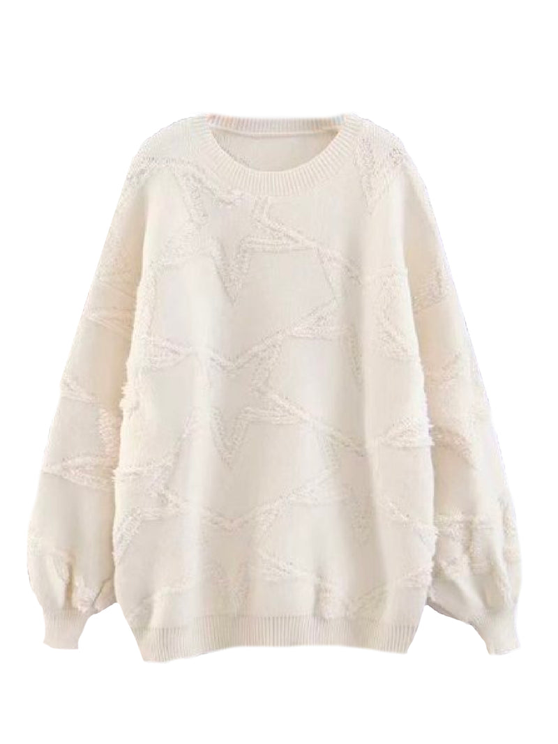 'Glissie' Star Patterned Crewneck Sweater (3 Colors)