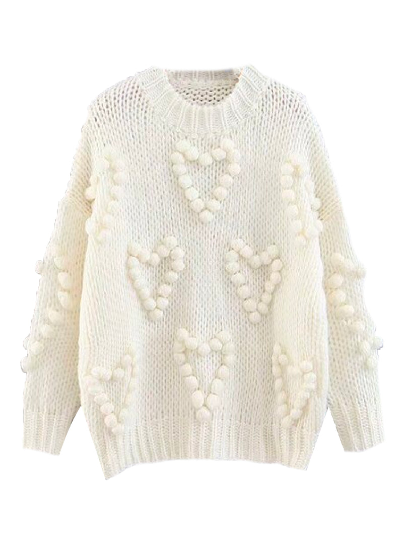 'Floella' Heart Shaped Pom Pom Knitted Sweater (3 Colors)