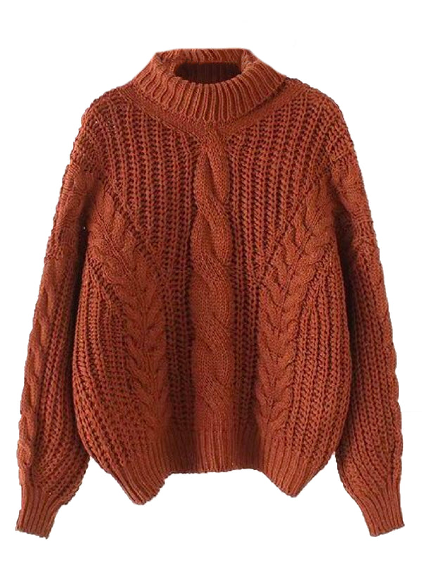 'Kaipo' Roll Neck Chunky Cable Knit Sweater (4 Colors)