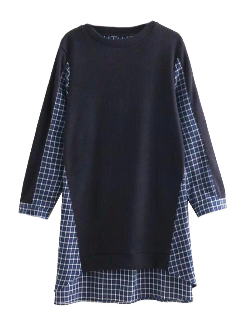 'Sherrie' Plaid Shirt Mixed Knit Sweater (3 Colors)