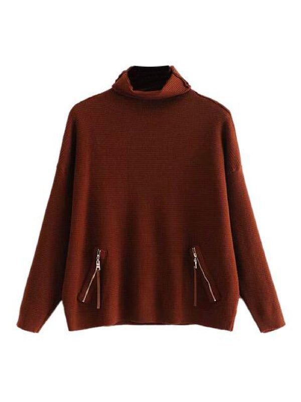 'Petra' Zip Pocket Roll Neck Knitted Sweater (2 Colors)