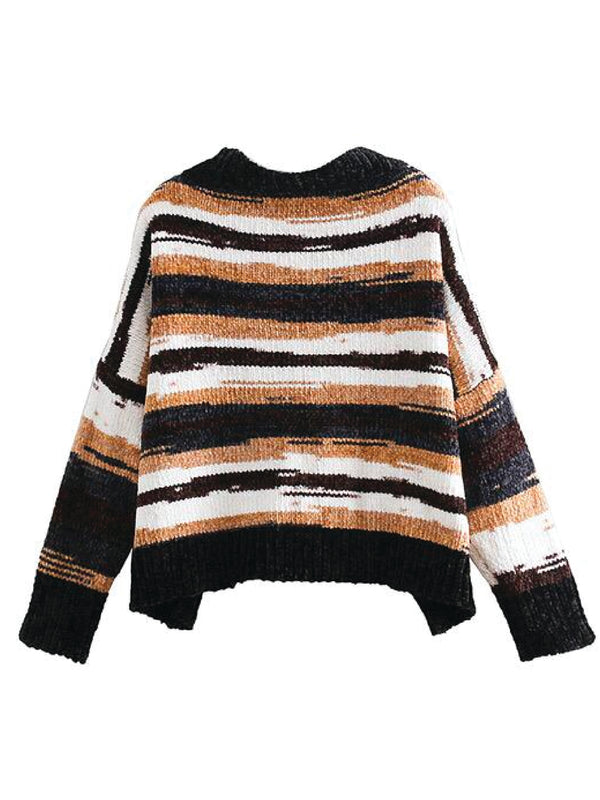 'Cyrus' V-Neck Muti-Colored Chenille Cropped Sweater