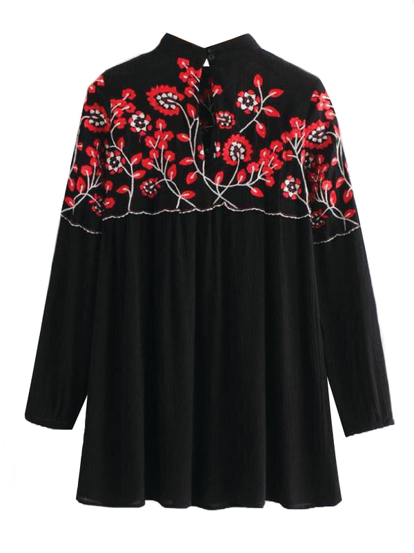 'Rachelle' Floral Embroidered High Neck Flared Dress