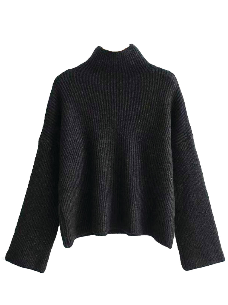 'Indy' Ribbed Knit Mock Neck Sweater (4 Colors)