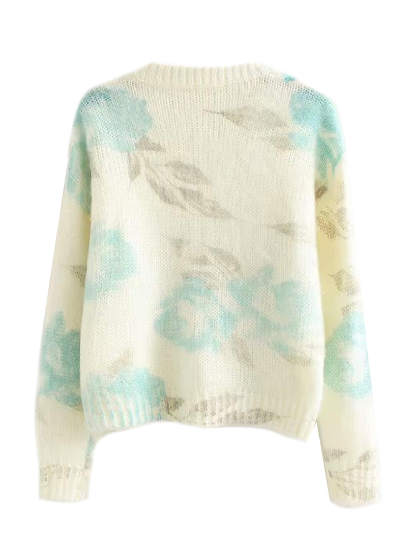 'Yareli' Floral Print Knitted Sweater (2 Colors)