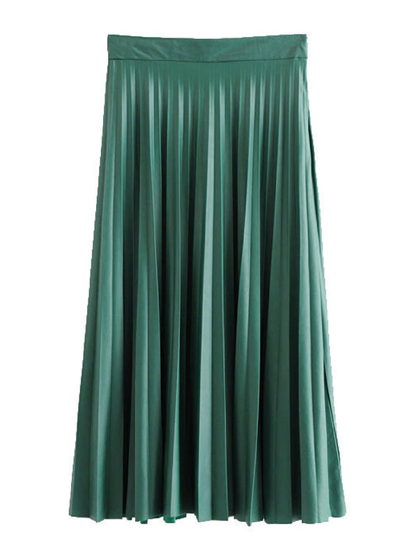 'Saylor' Green Pleated Skirt