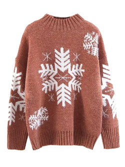 'Rodie' Snowflake Patterned Mock Neck Knitted Sweater