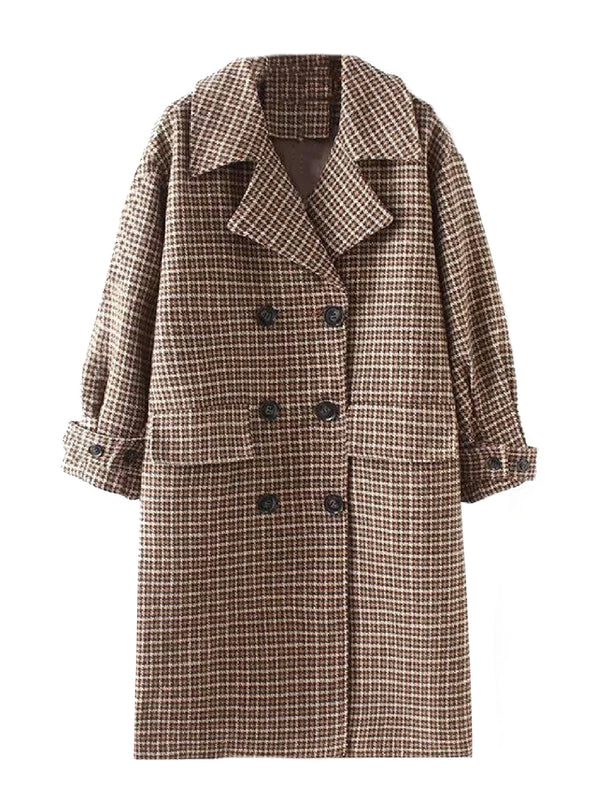 'Mani' Houndstooth Double Breasted Coat