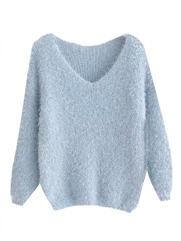 'Marshy' Fluffy Knitted Sweater (3 Colors)