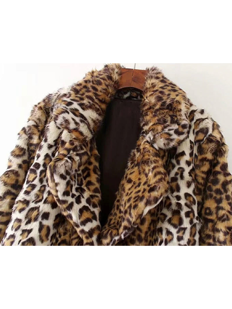 'Torri' Mixed Leopard Print Faux Fur Coat