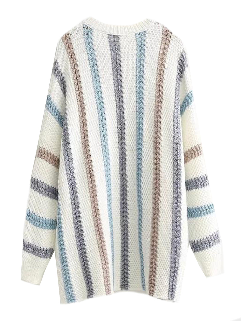 'Milly' Striped Mixed Knit Longline Sweater (2 Colors)