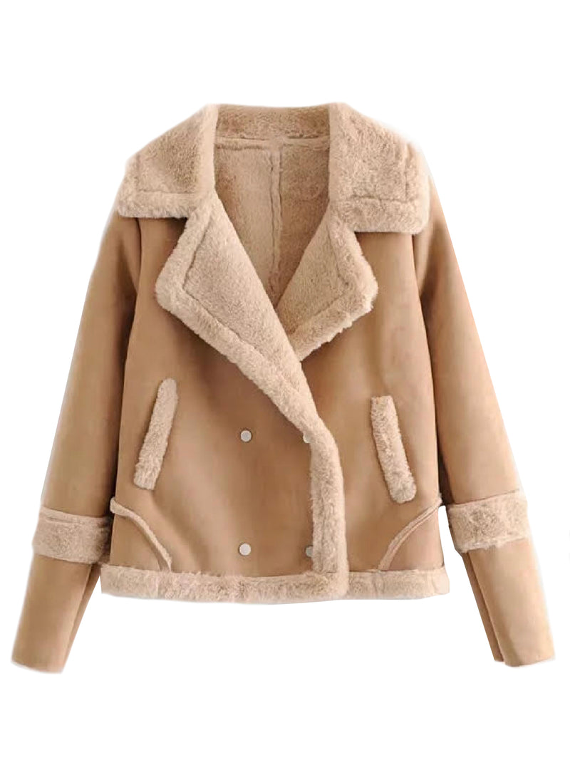 'Jimena' Faux Suede Shearling Jacket (4 Colors)