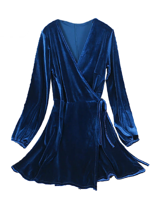 'Karsyn' Velvet Wrapped Dress (4 Colors)