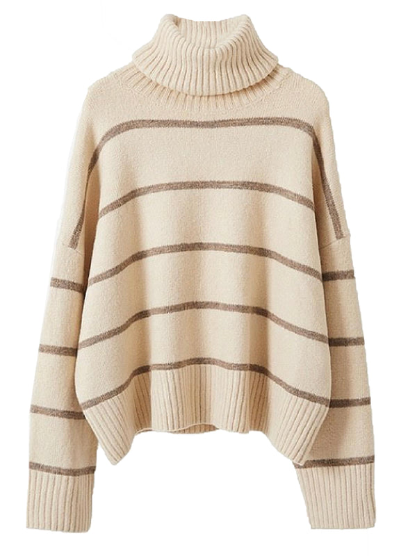 'Collins' Striped Turtleneck Sweater (3 Colors)