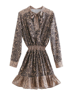 'Linda' Leopard Print Bow Collar Ruched Dress