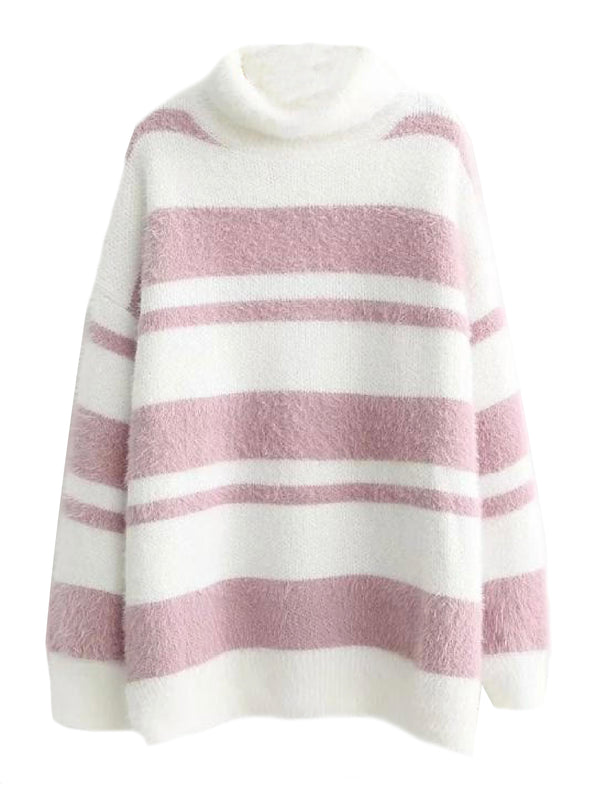 'Erica' Furry Striped Turtleneck Sweater (3 Colors)