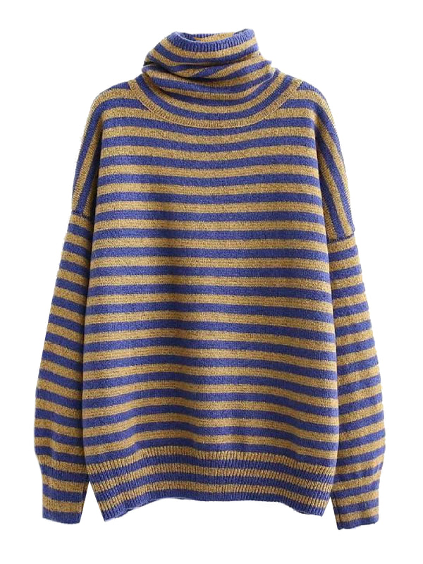 'Zam' Striped Turtleneck Sweater (2 Colors)